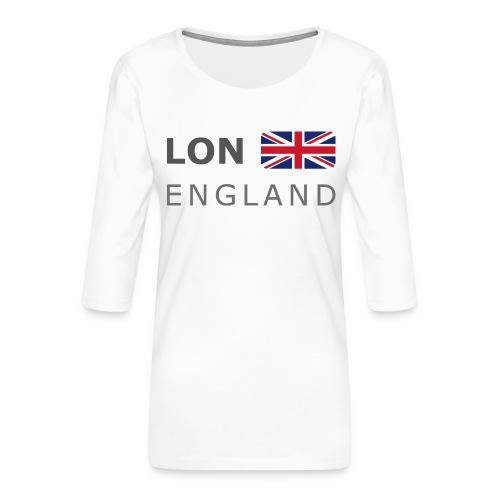 LON ENGLAND BF dark-lettered 400 dpi - Women's Premium 3/4-Sleeve T-Shirt