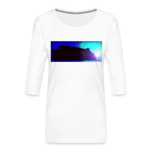 Silhouette of Edinburgh Castle - Women's Premium 3/4-Sleeve T-Shirt