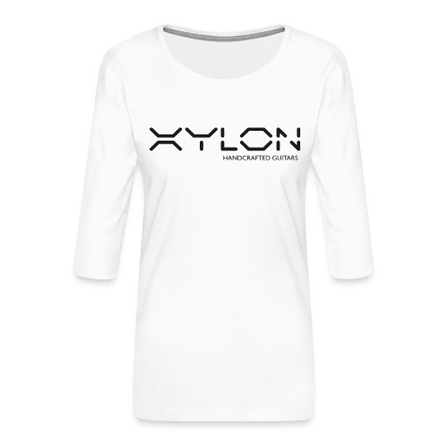 Xylon Handcrafted Guitars (plain logo in black) - Women's Premium 3/4-Sleeve T-Shirt