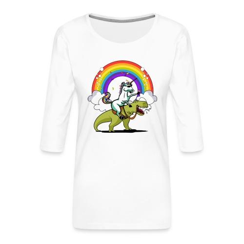 Unicorn Riding Ninja - Naisten premium 3/4-hihainen paita
