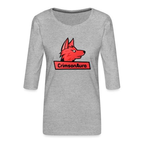 CrimsonAura Logo Merchandise - Women's Premium 3/4-Sleeve T-Shirt