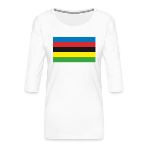 Cycling_World_Champion_Rainbow_Stripes-png - Vrouwen premium shirt 3/4-mouw