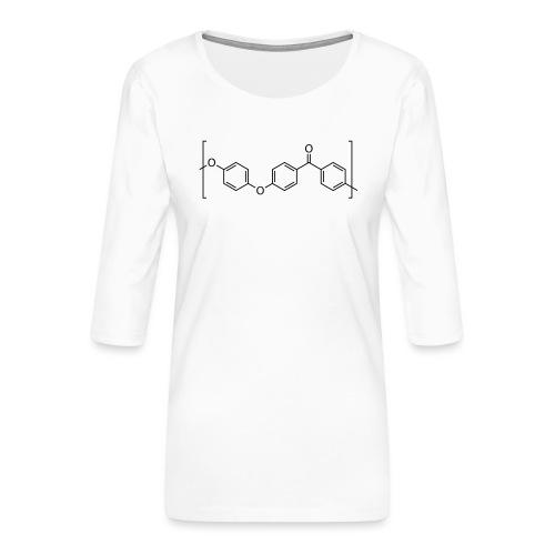 Polyetheretherketone (PEEK) molecule. - Women's Premium 3/4-Sleeve T-Shirt