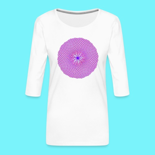 Fibonacci image with 4 fibonacci spirals - Women's Premium 3/4-Sleeve T-Shirt