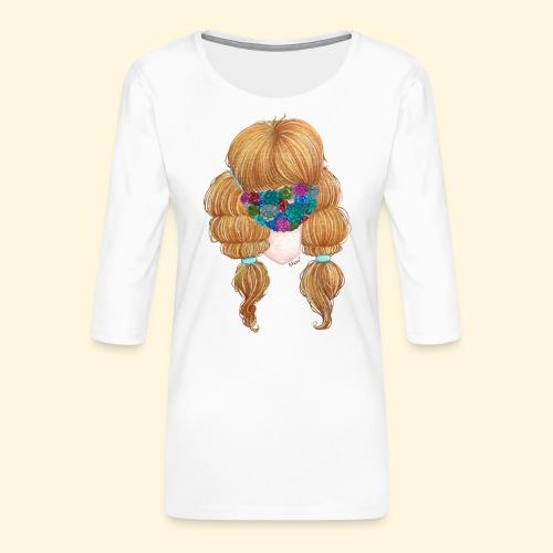 Fille masquée aux succulentes - T-shirt Premium manches 3/4 Femme