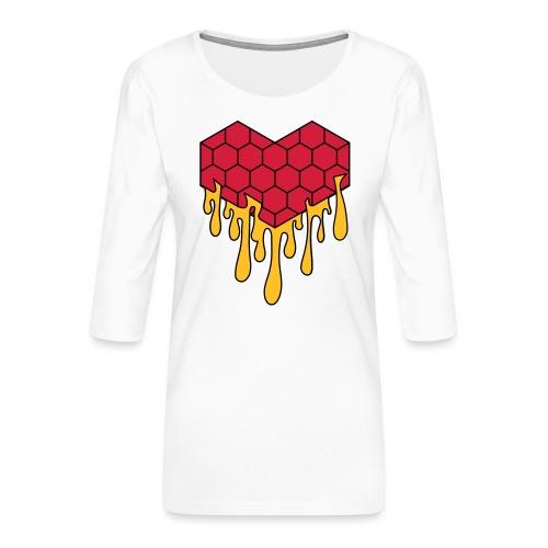 Honey heart cuore miele radeo - Maglietta da donna premium con manica a 3/4