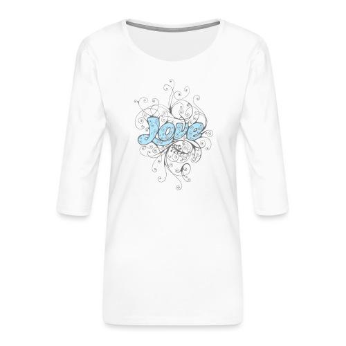 LOVE CON DECORI - Maglietta da donna premium con manica a 3/4