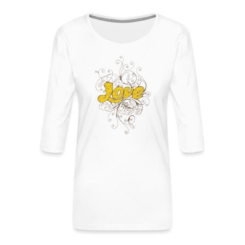 Scritta Love con decorazione - Maglietta da donna premium con manica a 3/4