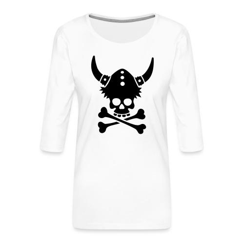 Totenkopf mit Wikingerhelm - Frauen Premium 3/4-Arm Shirt