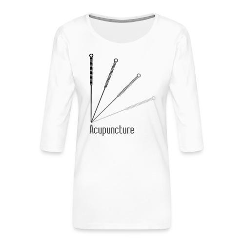 Acupuncture Eventail (logo noir) - T-shirt Premium manches 3/4 Femme
