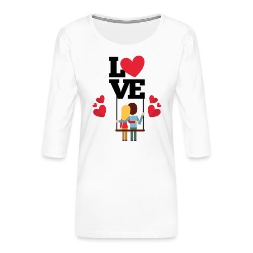 Love couple t-shirt - T-shirt Premium manches 3/4 Femme