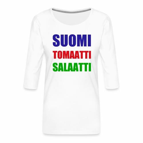 SUOMI SALAATTI tomater - Premium T-skjorte med 3/4 erme for kvinner