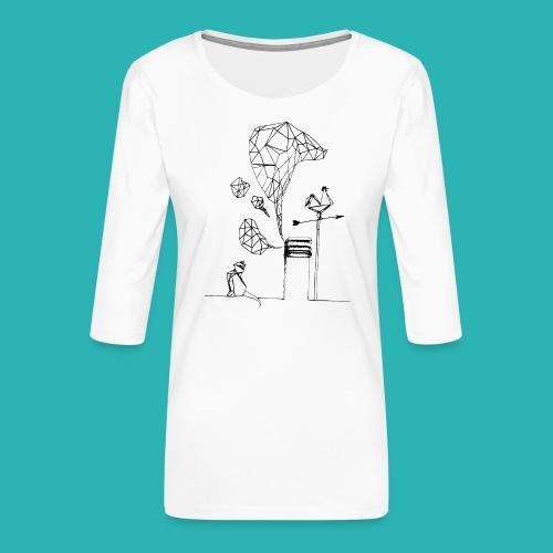 Carta_gatta-png - Maglietta da donna premium con manica a 3/4