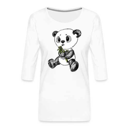 Panda Karhu värillinen scribblesirii - Naisten premium 3/4-hihainen paita
