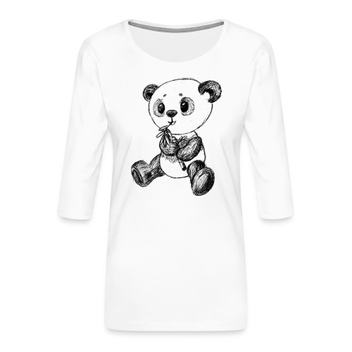 Panda Karhu musta scribblesirii - Naisten premium 3/4-hihainen paita