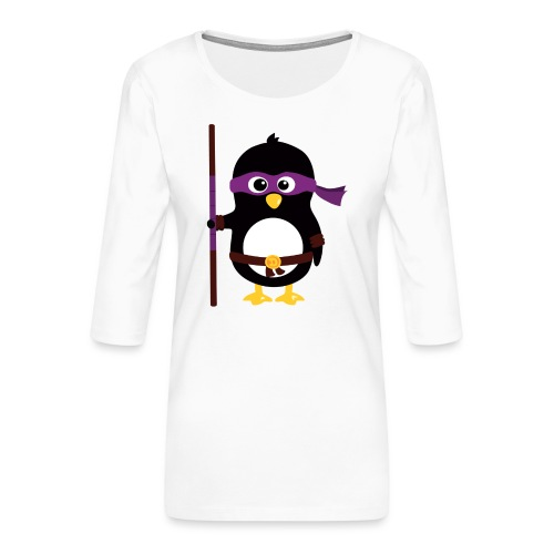 Pingouin ninja - T-shirt Premium manches 3/4 Femme