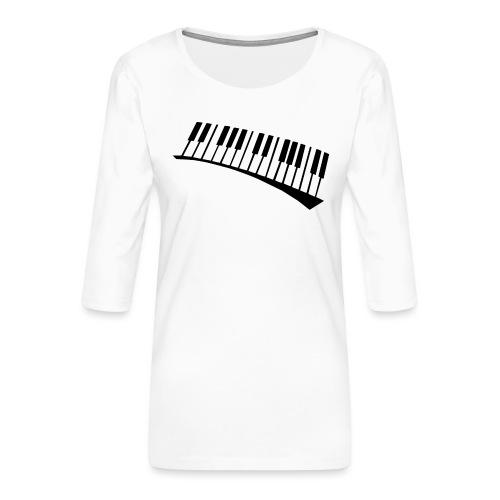 Piano - Camiseta premium de manga 3/4 para mujer
