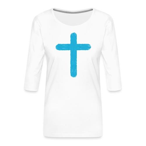 Blue cross - Camiseta premium de manga 3/4 para mujer
