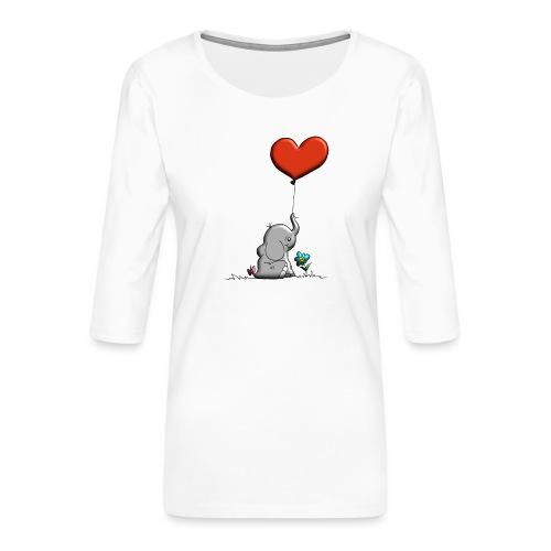 Éléphant, coeur rouge, der Elefant - T-shirt Premium manches 3/4 Femme