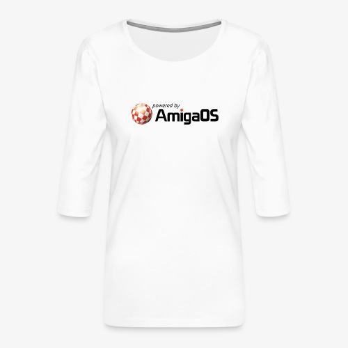 PoweredByAmigaOS Black - Women's Premium 3/4-Sleeve T-Shirt
