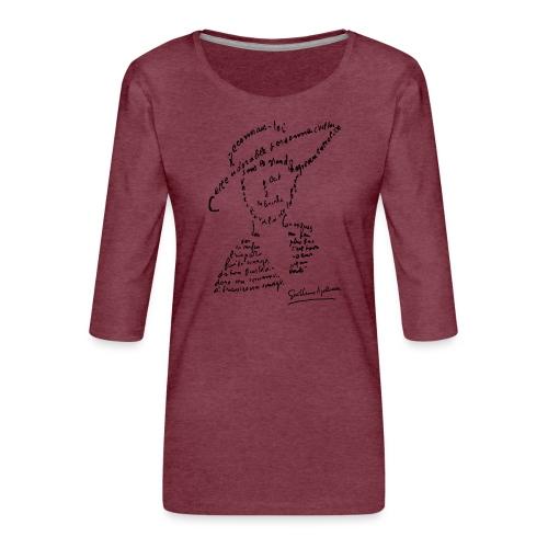 calligramme - Lou au chapeau - T-shirt Premium manches 3/4 Femme