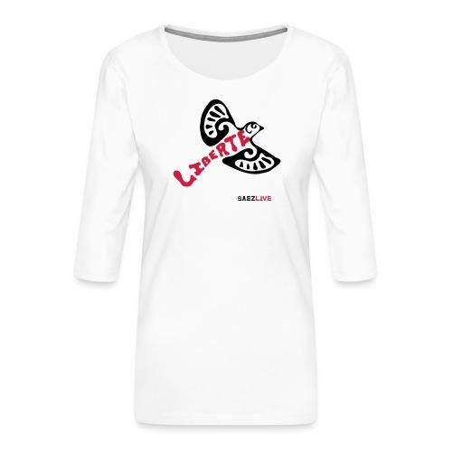 L'oiseau liberté (version dark, par éoline) - T-shirt Premium manches 3/4 Femme