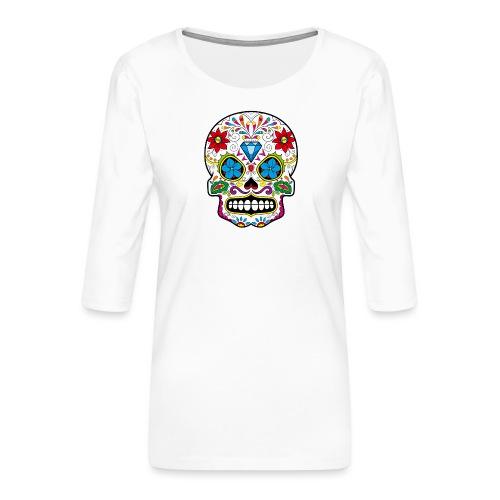 skull5 - Maglietta da donna premium con manica a 3/4