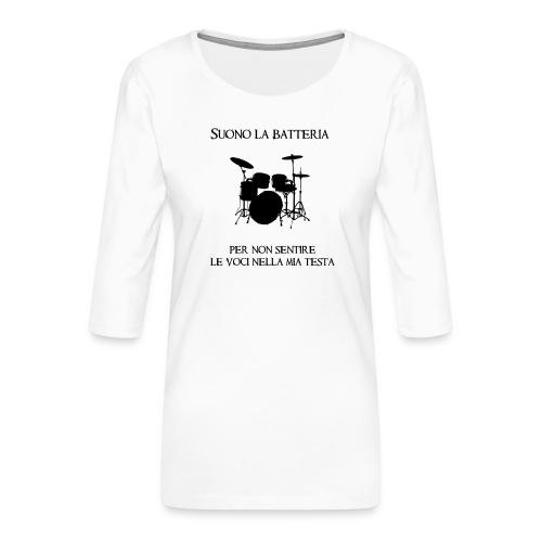 Batterista - Maglietta da donna premium con manica a 3/4