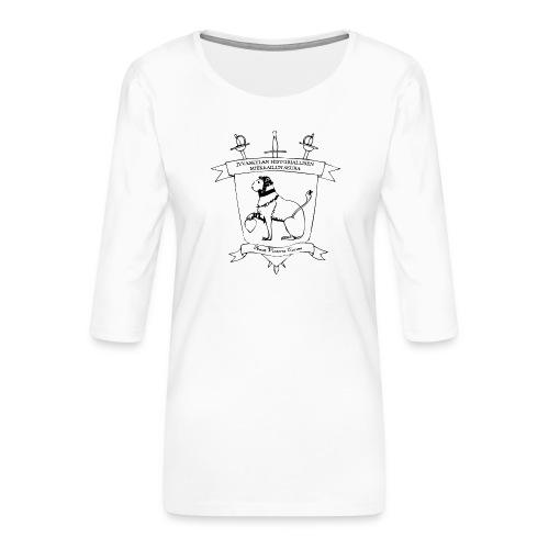 Naisten t-paita, musta logo - Naisten premium 3/4-hihainen paita