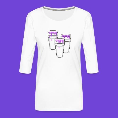 Purple - Maglietta da donna premium con manica a 3/4