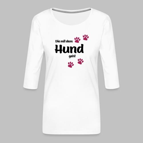 Die Mit Dem Hund Geht - Edition Colored Paw - Frauen Premium 3/4-Arm Shirt