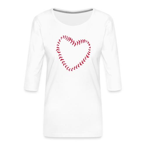 2581172 1029128891 Baseball Heart Of Seams - Women's Premium 3/4-Sleeve T-Shirt