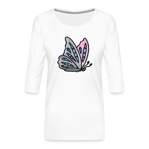 Fjäril - Premium-T-shirt med 3/4-ärm dam