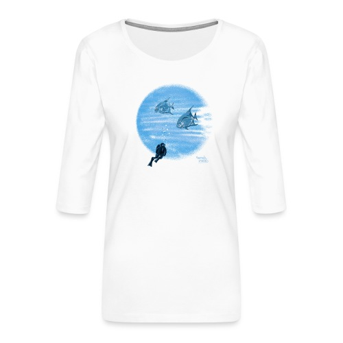 Zilveren visjes - T-shirt Premium manches 3/4 Femme