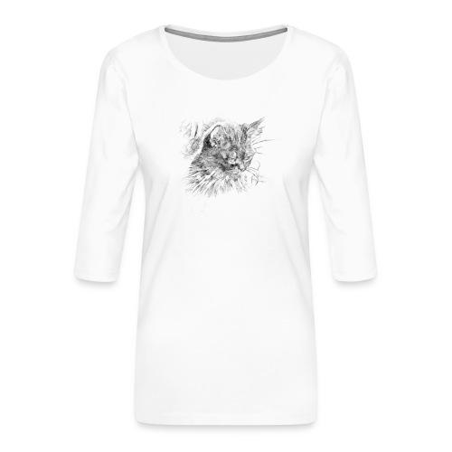 chat triste - T-shirt Premium manches 3/4 Femme