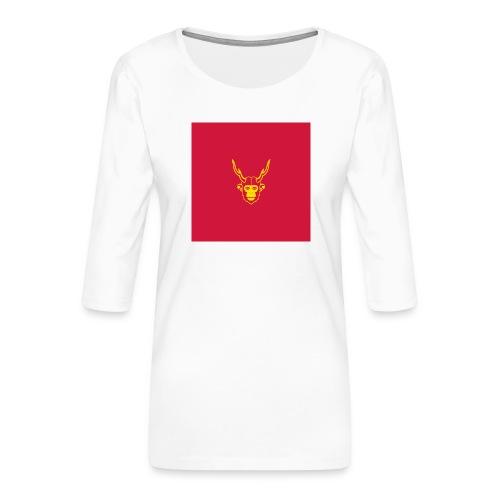 scimmiacervo sfondo rosso - Maglietta da donna premium con manica a 3/4