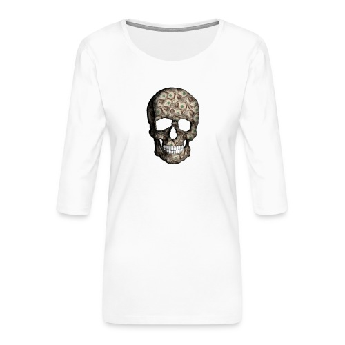 Skull Money Black - Camiseta premium de manga 3/4 para mujer