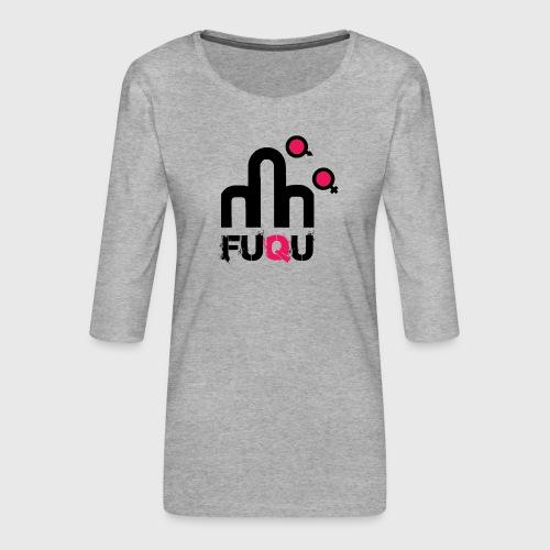 T-shirt FUQU logo colore nero - Maglietta da donna premium con manica a 3/4