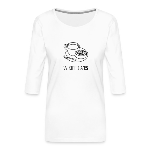 Fika, figursydd, vit - Premium-T-shirt med 3/4-ärm dam