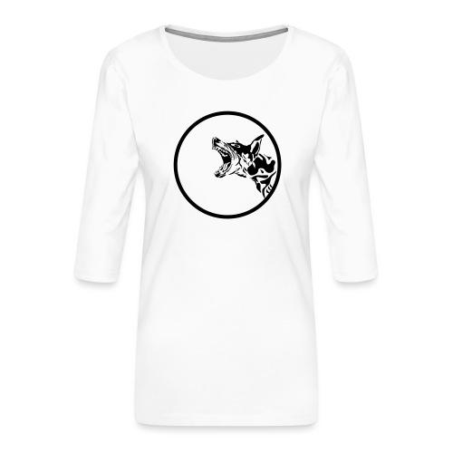 dog in a circle frame - T-shirt Premium manches 3/4 Femme
