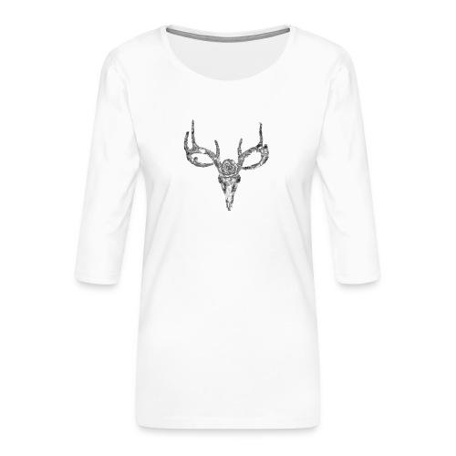 Deer skull with rose - Naisten premium 3/4-hihainen paita