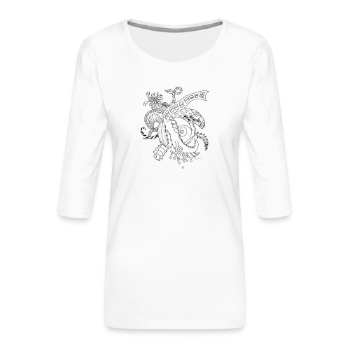 Fantasia musta scribblesirii - Naisten premium 3/4-hihainen paita