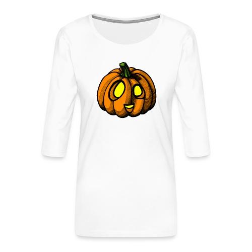 Pumpkin Halloween scribblesirii - Naisten premium 3/4-hihainen paita