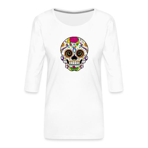 skull3 - Maglietta da donna premium con manica a 3/4