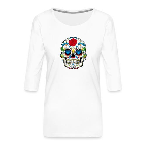 skull2 - Maglietta da donna premium con manica a 3/4