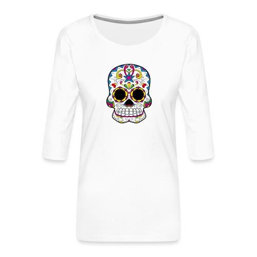 skull7 - Maglietta da donna premium con manica a 3/4