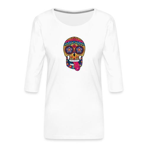 Mexican Skull - Maglietta da donna premium con manica a 3/4