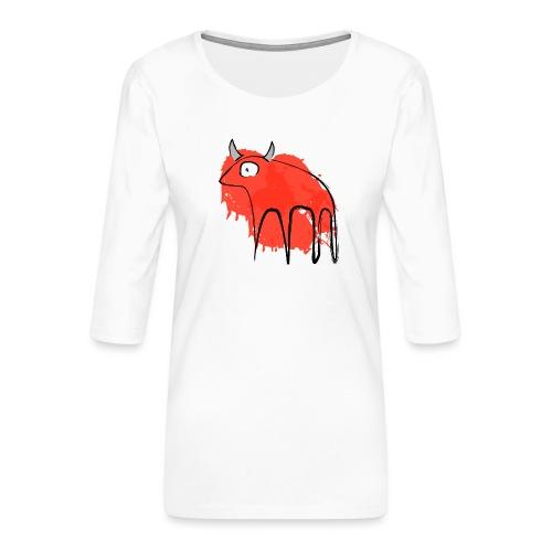 tribal red cow - Maglietta da donna premium con manica a 3/4