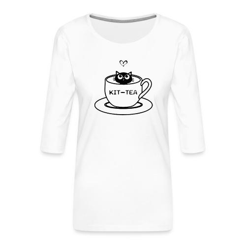CAT TEA - T-shirt Premium manches 3/4 Femme