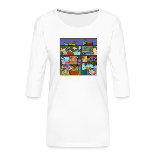 Katte - Dame Premium shirt med 3/4-ærmer